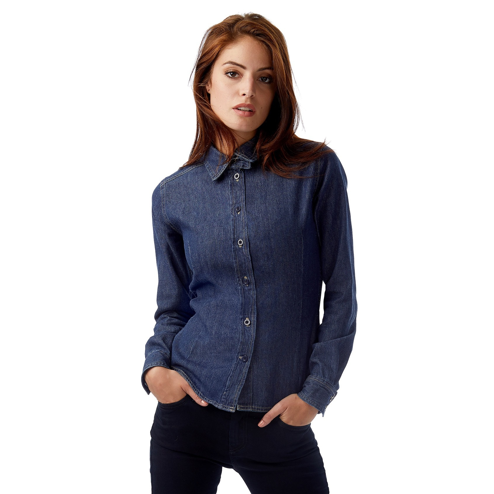 46ef1a4a224 Womens Blue Jean Button Up Shirt – EDGE Engineering and Consulting ...