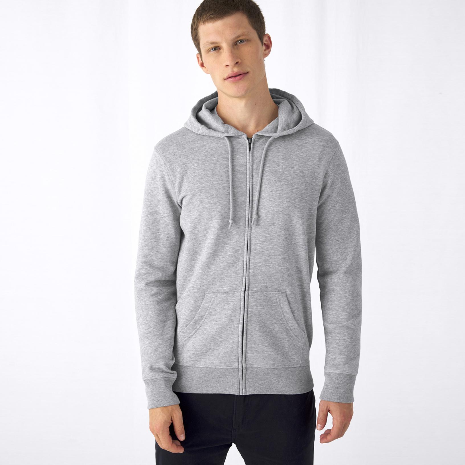 B/&C Mens Organic Zipped Hood WU35B
